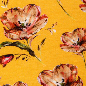 Cotton jersey printed poppies multicolored