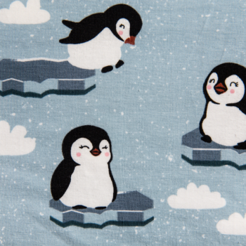 Cotton jersey printed penguins light blue