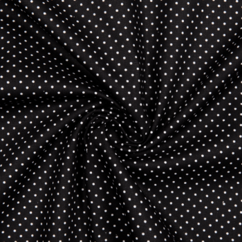 Cotton poplin printed little dots black