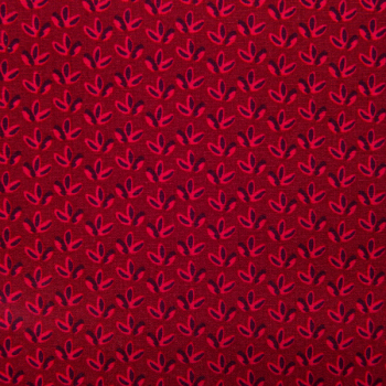 Cotton poplin printed tiny red shrubs