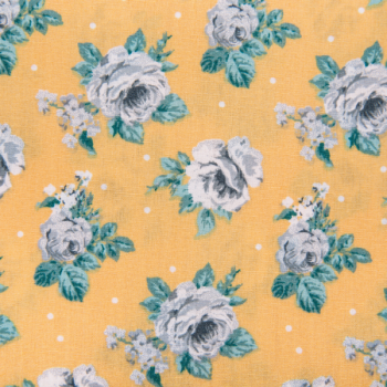Cotton poplin printed blue flowers