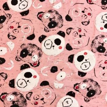 Cotton jersey printed panda bear pink