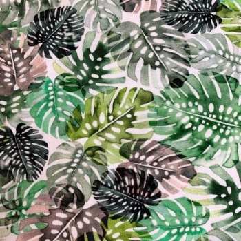 Cotton jersey digiprint monstera leaves green