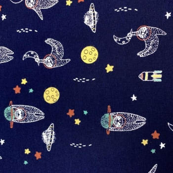 GOTS cotton jersey  space characters dark blue