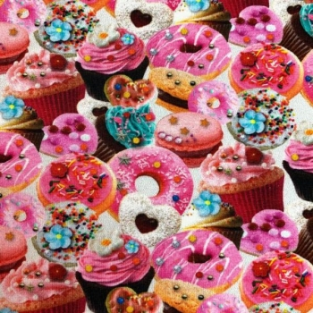 Cotton jersey digiprint muffins and ponchos party multicolored