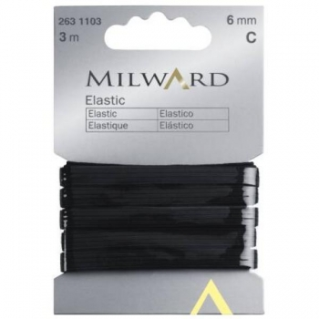 Elastic 6mm 3m in pack black