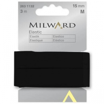 Elastic 15mm 3m in pack black