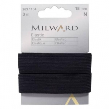 Elastic 18mm 3m in pack black