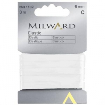 Elastic 6mm 3m in pack white
