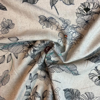 Linen viscose floral multicolored
