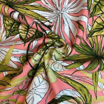 Linen viscose water flowers in pink