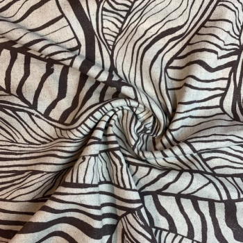 Linen viscose tree roots multicolored