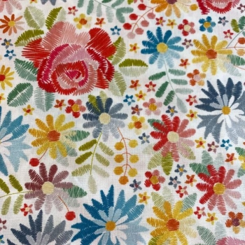 Cotton poplin digital printed embroidered flowers multicolored
