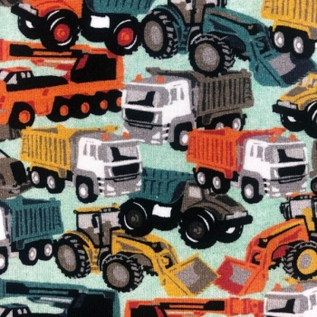 Cotton jersey digital printed trucks multicolored