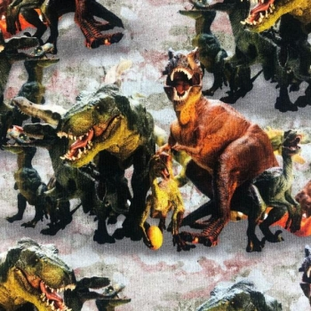 Cotton jogging digital printed dinosaurs multicolored