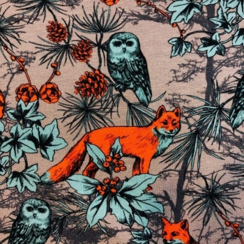 Cotton jersey digital printed fox and owl multicolored