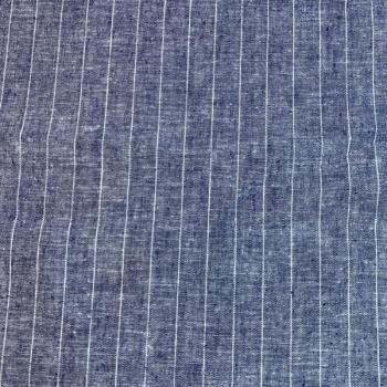 Linen viscose blue big stripes
