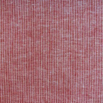 Linen cotton little stripes red