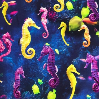 Cotton jersey digital print seahorses