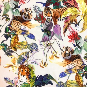Cotton jersey hummingbird with tigers