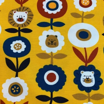 Cotton jersey lion flowers