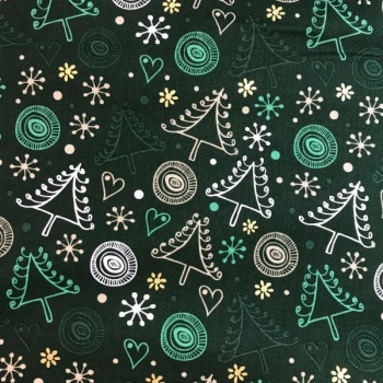 Cotton poplin printed spruce with hearts dark green