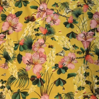 Cotton jesey digi print flowers ochre