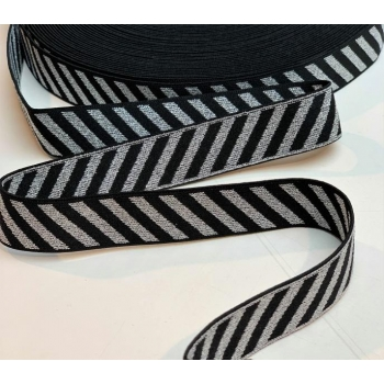 Soft touch elastic black diagonale  silver stripes