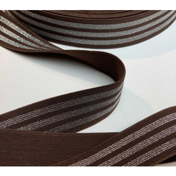 Elastic brown with silver stripes