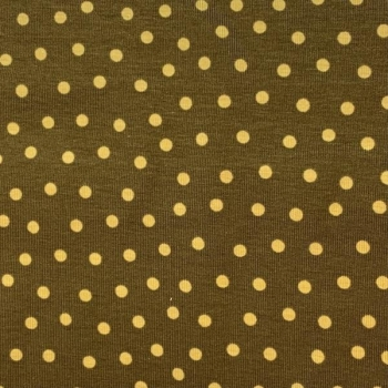 Cotton jersey yellow dots brown