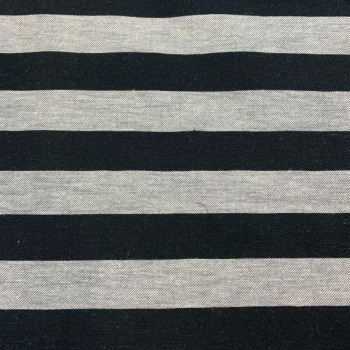 Cotton and linnen mix black and grey stripes