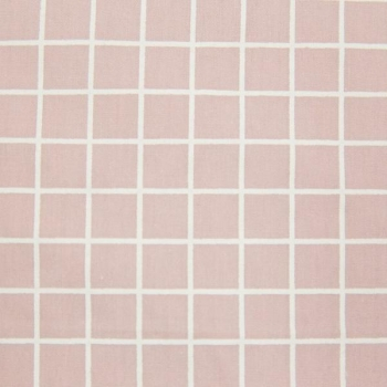Cotton poplin printed pink square with white lines multicolored