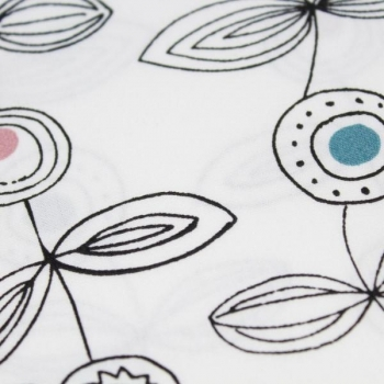 Cotton poplin printed graphic flowers white