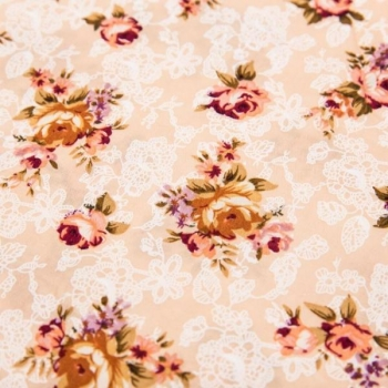 Cotton poplin prinditud romantic flowers beige