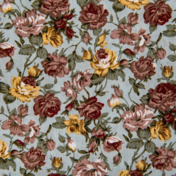 Cotton poplin printed flowers bordeaux/dusty blue