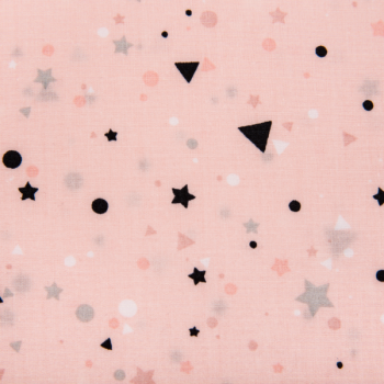 Cotton poplin printed tiny shapes pink