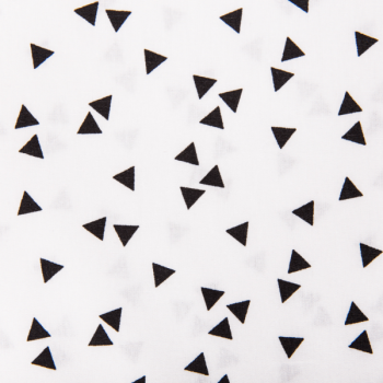 Cotton poplin printed triangle rain white