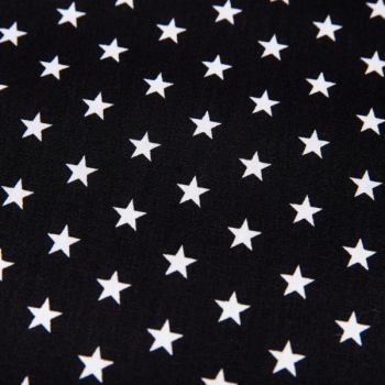 Cotton poplin printed stars black