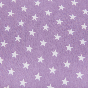 Cotton poplin printed stars purple