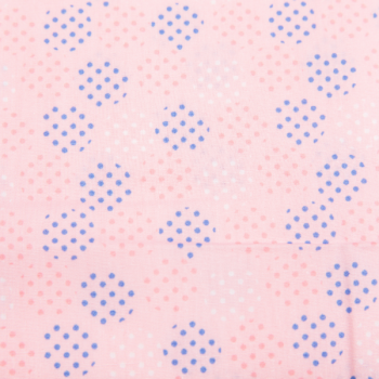 Cotton poplin printed blue/pink/white dots multicolored