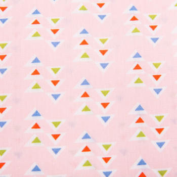 Cotton poplin printed tiny triangles in pink multicolored