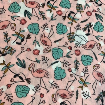 Cotton poplin printed flamingos in pink