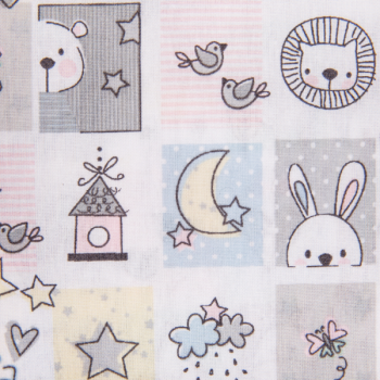 Cotton poplin printed sweet animals multicolored