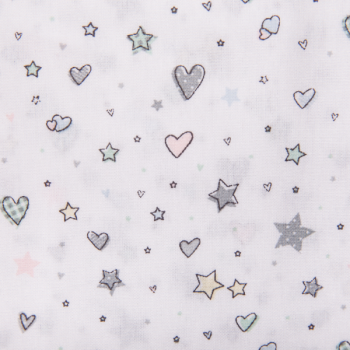 Cotton poplin printed hearts and stars white
