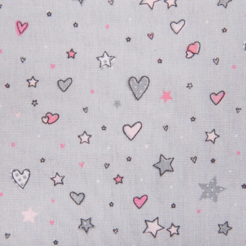 Cotton poplin printed hearts and stars grey
