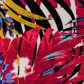 Viscose jersey printed fuchsia tropical leaves multicolored