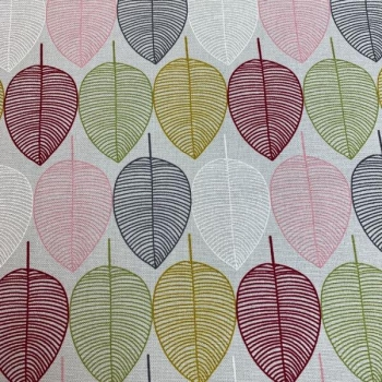 Cotton canvas printed leaves multicolored