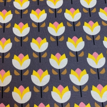Cotton canvas printed spring tulips multicolored