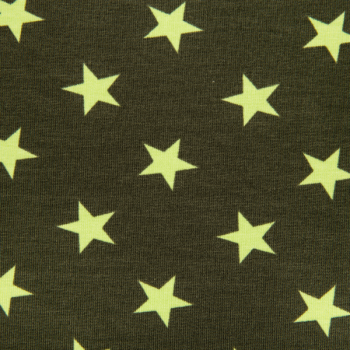 Cotton jogging printed big stars neon green