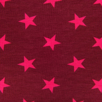 Cotton jogging printed big stars fuchsia